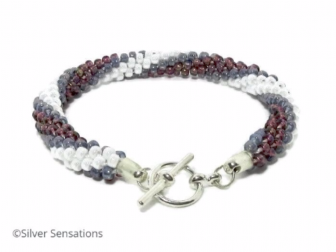 Purple & White Stripey Kumihimo Seed Bead Fashion Bracelet